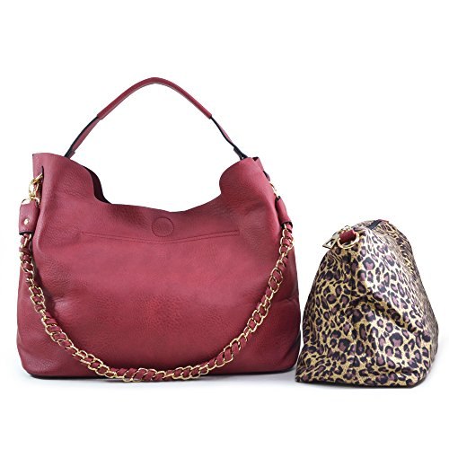 Dasein 2-in-1 Faux Leather Hobo with Organizer Bag - Red