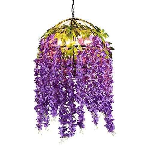 FF Chandelier Wrought Iron Chandelier Simulation Flower Chandelier Bedroom Simple Modern Warm Romantic Party Chandelier (Color : Purple, Size : 555550CM) ()