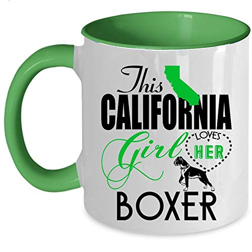Girl Boxer California - Funny Boxer Lovers Coffee Mug, This California Girl Loves Her Boxer Accent Mug (Accent Mug - Green)