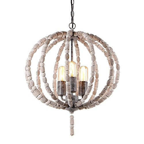 Eumyviv 17101 3-Lights Spherical Metal Frame Wood Beads Chandelier Retro Rustic Industrial Pendant Light Edison Vintage Decorative Hanging Light Fixtures Ceiling Light (Canopy Adjustable Height Light Fixture)