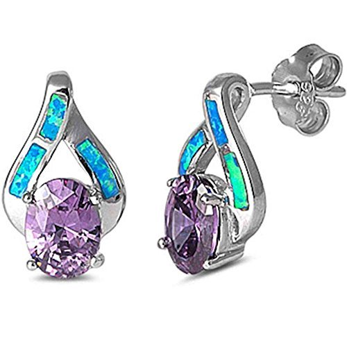 Faceted Amethyst & Lab Created Blue Fire Opal High Fashion .925 Sterling Silver Earrings 5073 by Oxford Diamond Co