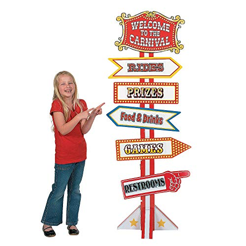 Fun Express - Big Top Directional Sign - Party Decor - Large Decor - Floor Stand Ups - 1 Piece ()