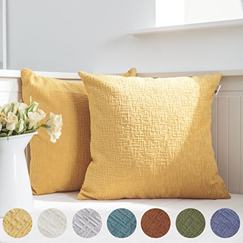 Kevin Textile Decor Soft Solid Velvet Toss Throw Pillow Cover Fashion Striped Decorative Pillow Case Handmade Cushion Cover for Couch, 18x18 inches,2 Pieces,Primrose Yellow (Throw Pillow Covers)