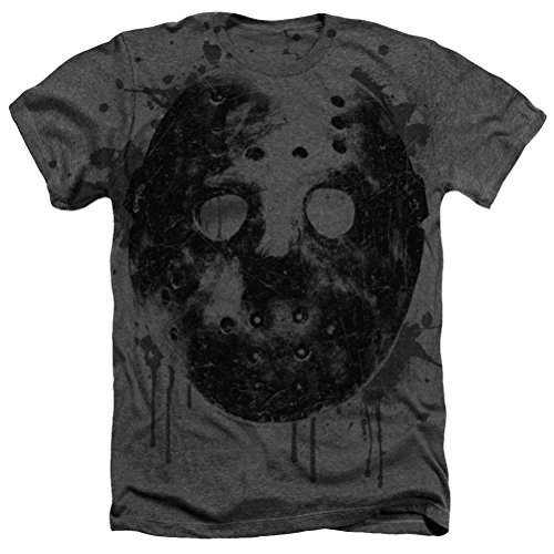 A&E Designs Friday The 13TH Hockey Mask Heather T-Shirt, Charcoal, Small