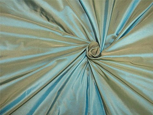 "40 mm heavy weight Iridescent blue x beige silk taffeta fabric 54"" wideTAF#285"