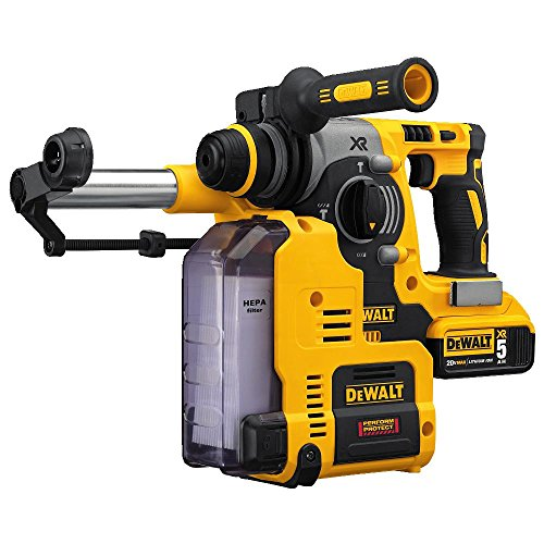 DEWALT DCH273P2DH 20V MAX XR Brushless 1 inch L-Shape SDS Plus Rotary Hammer Kit with Dust Extractor
