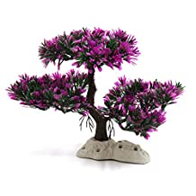 uxcell® Fuchsia Plastic Plant Tree Aquarium Fish Tank Water Landscape Decor w Stand