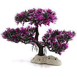 uxcell Fuchsia Plastic Plant Tree Aquarium Fish Tank Water Landscape Decor w Stand