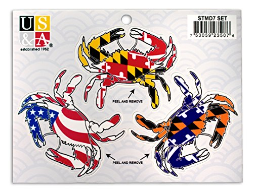 Crab Sticker 3 Piece Set - Maryland Flag, American Flag, and Maryland Sports