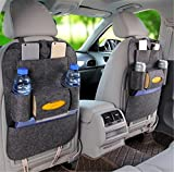 BININBOX Car Backseat Organizer Felt Pocket Protector Kick Mat Auto For Baby Kids Travel Accessories Toy Bottle Storage (Dark gray)