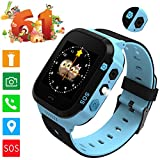 """Smartwatch GPS Tracking for kids, with 1.4"""" Touch Screen LED Light Phone Call Anti-lost Remote Camera Wristband Bracelet for Children (Black Blue)"""