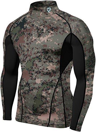 TM-T12-PCKZ_Medium Tesla Men's Turtle Mock Long-Sleeved T-Shirt Cool Dry Compression Baselayer T12