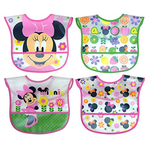 (Disney Minnie Mouse Easy Wipe Toddler Bib with Crumb Catcher 4 Pack)