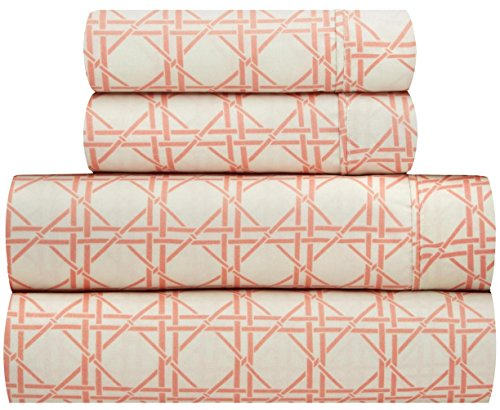 Waverly Traditions Kent Crossing Orange Creme Geometric Trellis 4-Pc. Bed Sheet Set (Queen)