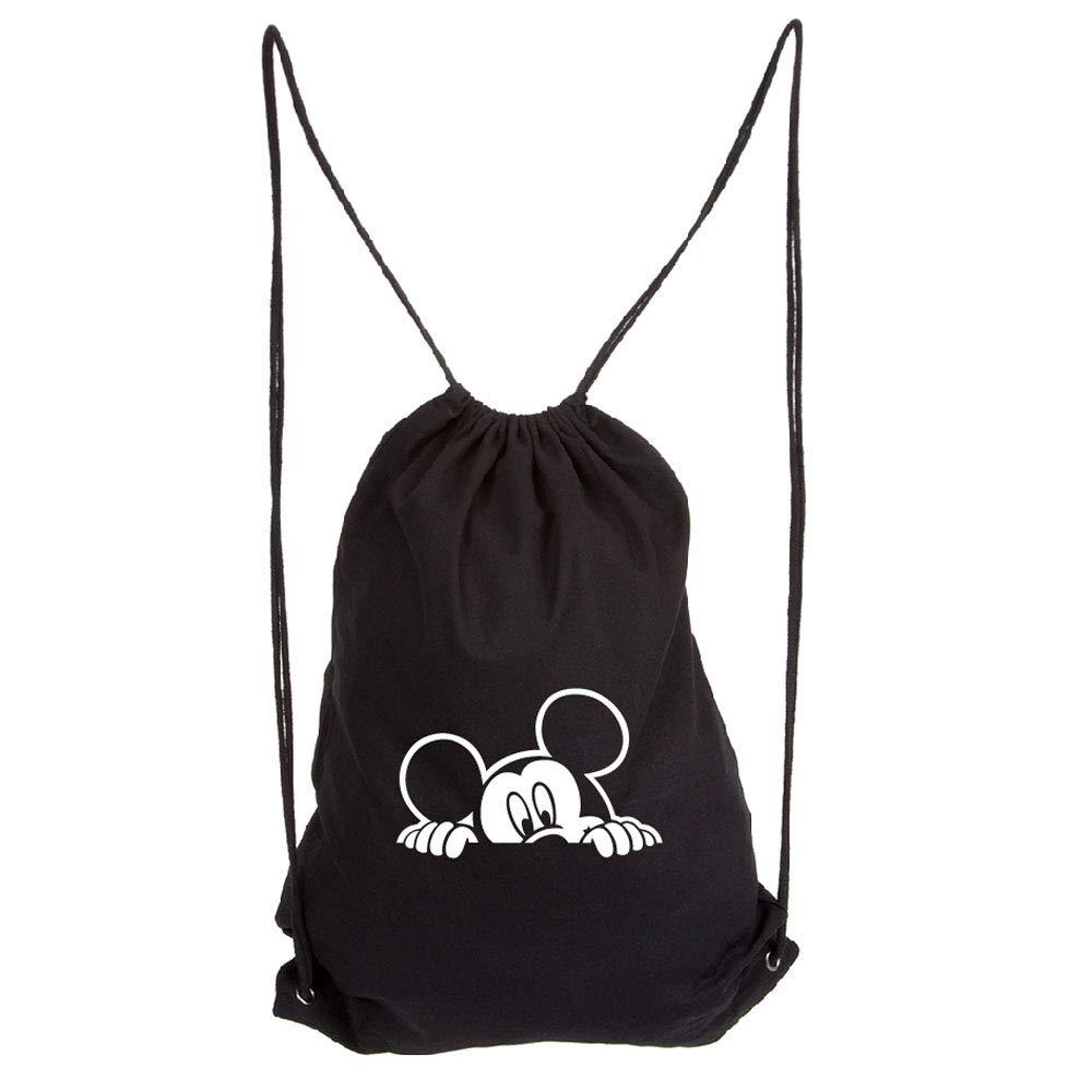 Mickey Mouse Peeking Eco-Friendly Reusable Drawstring Bag 6 oz. Cotton Canvas Gym Bag Backpack Sack Pack for Shopping Sport Yoga