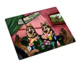 Home of German Shepherds Tempered Cutting Board 4 Dogs Playing Poker