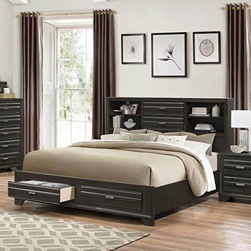 Roundhill Furniture Loiret 236 Antique Grey Size Storage Platform Bed, King (King Size Sleigh Bed With Storage Drawers)