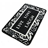 Ustide Black and White Area Rugs Live Love Laugh Bathroom Rug Fashion English Letters Door Mat
