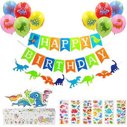Dinosaur Birthday Party Decoration Kit: 1 Dinosaur Happy Birthday Banner, 1 Dino garland, 5 Candles, 10 Balloons, 6 Dinosaur Stickers-Party Supplies Favors For Baby Shower Boys Girls First Birthday