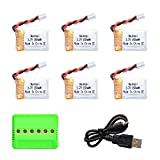 #10: Noiposi 6PCS Upgraded 3.7V 150MAH Battery with X6 Charger Conversion Cable for JJRC H36 Eachine E010 GoolRC T36 NIHUI NH010