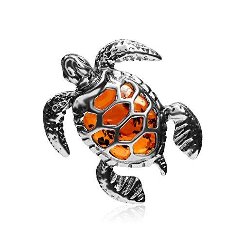 Ian and Valeri Co. Amber Sterling Silver Turtle Slider Pendant