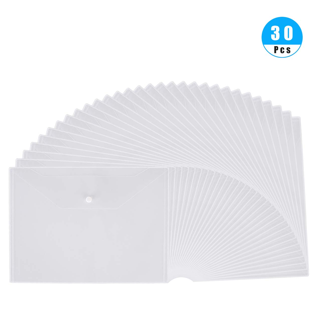 Venhua 30 Pcs Clear Plastic Waterproof Envelope Folder with Button Closure, Poly Envelopes Plastic Envelopes for School, Home, Work, Outdoor and Office Organization, A4 Size in Transparent Color by venhua
