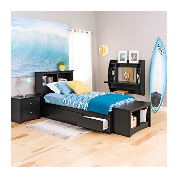 Prepac Mate's Platform Storage Bed with 3 Drawers, Twin, Black - Drawers run on smooth, all-metal roller glides with built-in safety stops Constructed from high quality laminated composite woods Assembly Required - bedroom-furniture, bedroom, bed-frames - 51eIRI4G1dL. SS570  -