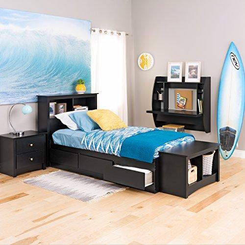 Black Twin Mate's Platform Storage Bed with 3 (Black Twin Platform)