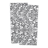 "DII 100% Cotton, Everyday Basic Kitchen Dishtowel, Tea Towel, Drying, Damask Printed, 18 x 28"" Set of 2- Gray"