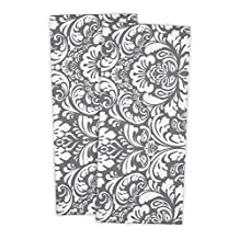 "DII 100% Cotton, Everyday Basic Kitchen Dishtowel, Tea Towel, Drying, Damask Printed, 18 x 28"" Set of 2- Gray"