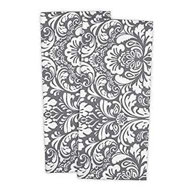 DII 100% Cotton, Everyday Basic Kitchen Dishtowel, Tea Towel, Drying, Damask Printed, 18 x 28  Set of 2- Gray
