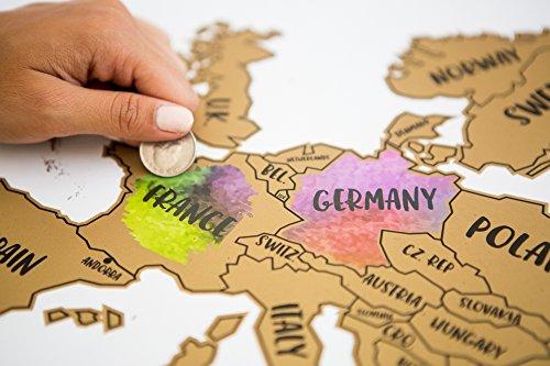 JetsetterMaps Scratch Your Travels Europe Region Map 16x20 in Poster by JetsetterMaps