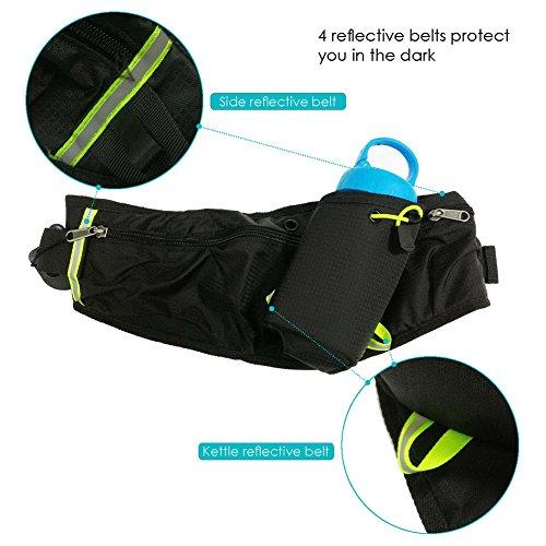 AUTOPkio sac de taille sac banane sport ceinture boire taille emballer tous les téléphones de moins de 6 pouces poches Waistpacks extérieur pour la marche fitness vélo marche hommes et femmes