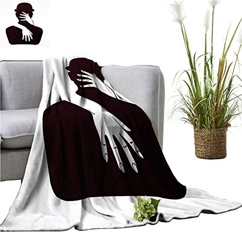 YOYI Polyester Blanket Artwork couplae in a Hug mysti Lady hugg a in a Bowler Cozy and Durable 35