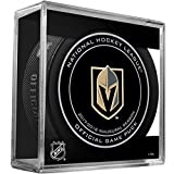 2017 Las Vegas Golden Knights Game Puck 100th Anniversary on back With Cube