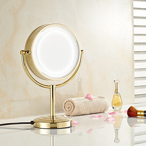 GURUN 8.5-Inch Tabletop Double-Sided LED Lighted Make-up Mirror with 7x Magnification,Gold Finish M2208DJ(8.5in,7x)