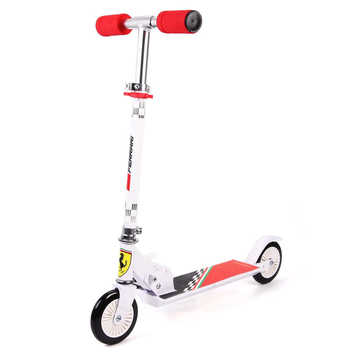 75a8eb49df1 Amazon.com : Ferrari Kids Scooter 2 Wheels Kick Push Folding Aluminum Stunt  Height Adjustable Skate Board (Red) : Sports & Outdoors