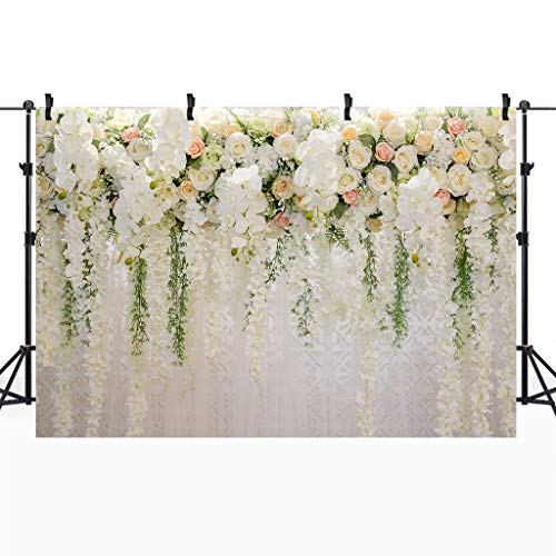 Cdcurtain Bridal Floral Wall Backdrop Wedding 3D Rose 10x8ft Reception Ceremony Photography Background Photo Birthday Party Dessert Table Photo Shoot Backdrop Blush Vinyl Cloth by Cdcurtain (Image #2)