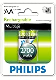 Philips Service Pack Multilife 2700 mAH Rechargeable AA Batteries (2 Pack)