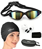 Firesara Swim Cap Swim Goggles, 3D Ergonomic Silicone Swimming Caps Long Hair Women Short Hair Men Kids Adult Anti Fog UV Protection Goggle Set Keep Hair Clean Plus Nose Clip Ear Plugs