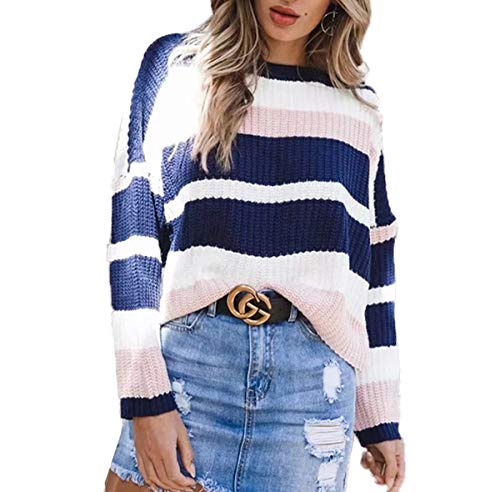 Rond Tops Pullover Blouse Pull Maille Sweaters Simple Fashion Col Jeune Mode en Femmes Tricots Hiver Casual Automne Patchwork Hauts pOqTwqv4