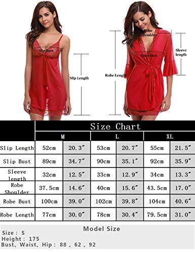 Rouge Avec Satin Pièces Pour Kimono Les Soir style Foncé Aibrou Robe Du Élégante Longue Femmes Nuit La Sangle Chambre De Vêtements 2 Détente FTwnqTx