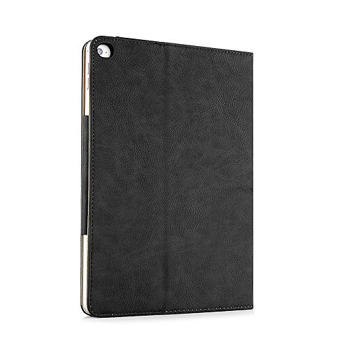 Ipad Air 2 Case, Apple Ipad Air 2 Premium Tan Leather Wallet Smart Flip Case Cover with Magnetic Sleep Wake Sensor (Black Photo #4