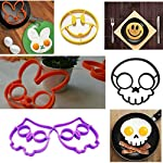 Allshope 2018 New Funny Silicone Pancake Mould Ring Fried Egg Cooking Kitchen Tool 5 Fuction: eggs and pancakes cooking tools Pattern: Purple owl,orange bunny, yellow smile face, black skull, cat, frog Material:silicone