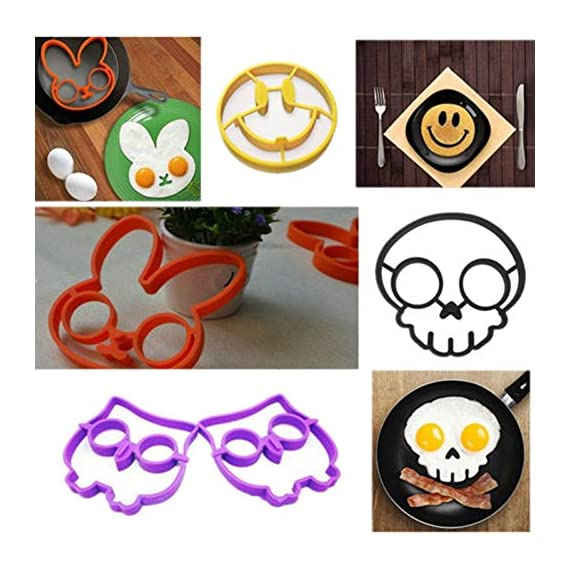 Allshope 2018 New Funny Silicone Pancake Mould Ring Fried Egg Cooking Kitchen Tool 2 Fuction: eggs and pancakes cooking tools Pattern: Purple owl,orange bunny, yellow smile face, black skull, cat, frog Material:silicone