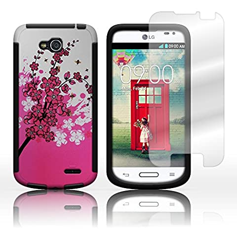 CoverON® Hybrid TPU & Hard Plastic Dual Layer Case for LG Optimus L90 - Screen Protector Included Inside Package - Pink Spring Flower Hard Plastic Design Black (Lg D415 Phone Case For Girls)