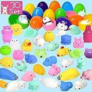 LUDILO 30Pcs Easter Eggs + 30Pcs Mochi Squishy Toys Easter Basket Stuffers Easter Egg Fillers Easter Toys Mini Squishies Par