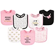 Hudson Baby Baby Cotton Drooler Bibs, 7 Pack, Princess, One Size