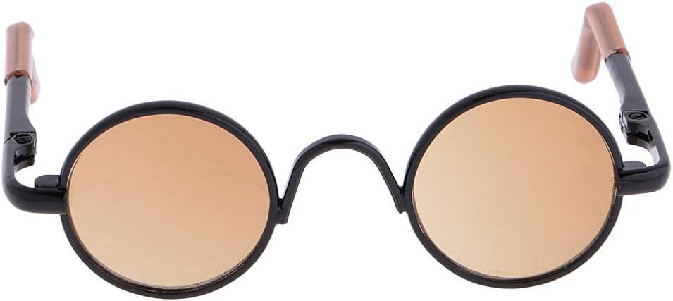 CUTICATE 1//3 BJD Hippy Runde Brille Eyewear F/ür DOD Puppe Gold Rahmen Klare Linse