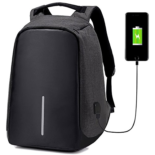 35L Unisex Laptop Backpack Business Travel Camera Bags Water Resistant Polyester Computer Backpack with USB Charging Port School College Laptop and Notebook Bookbag (Black)